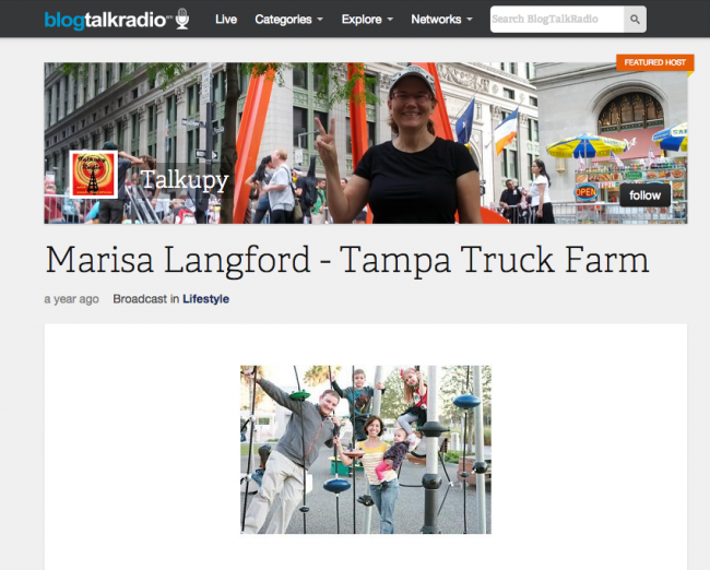 Blog Talk Radio: Talkupy Interview with Marisa Langford (Truck Farm Tampa + Fit Kids Playground)
